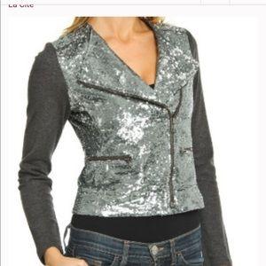 La Cite Silver Sequin Moto Jacket
